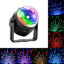 Диско шар мини цветомузыка Led Party Light 3 цвета с пультом, фото 2