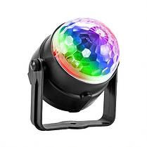 Диско шар мини цветомузыка Led Party Light 3 цвета с пультом, фото 3