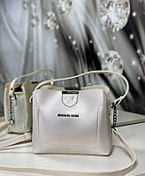Маленькая женская белая сумочка через плечо небольшая сумка кросс-боди жемчуг кожзам
