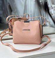 Маленькая женская пудровая сумочка через плечо небольшая сумка кросс-боди кожзам, фото 1