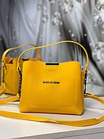 Маленькая женская желтая сумочка через плечо небольшая сумка кросс-боди кожзам