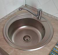 Мойка кухонная нерж.сталь Platinum 490 Decor 0,6мм круглая декор