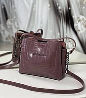 Женская сумка через плечо кроссбоди сумочка лиловая под рептилию экокожа, фото 1