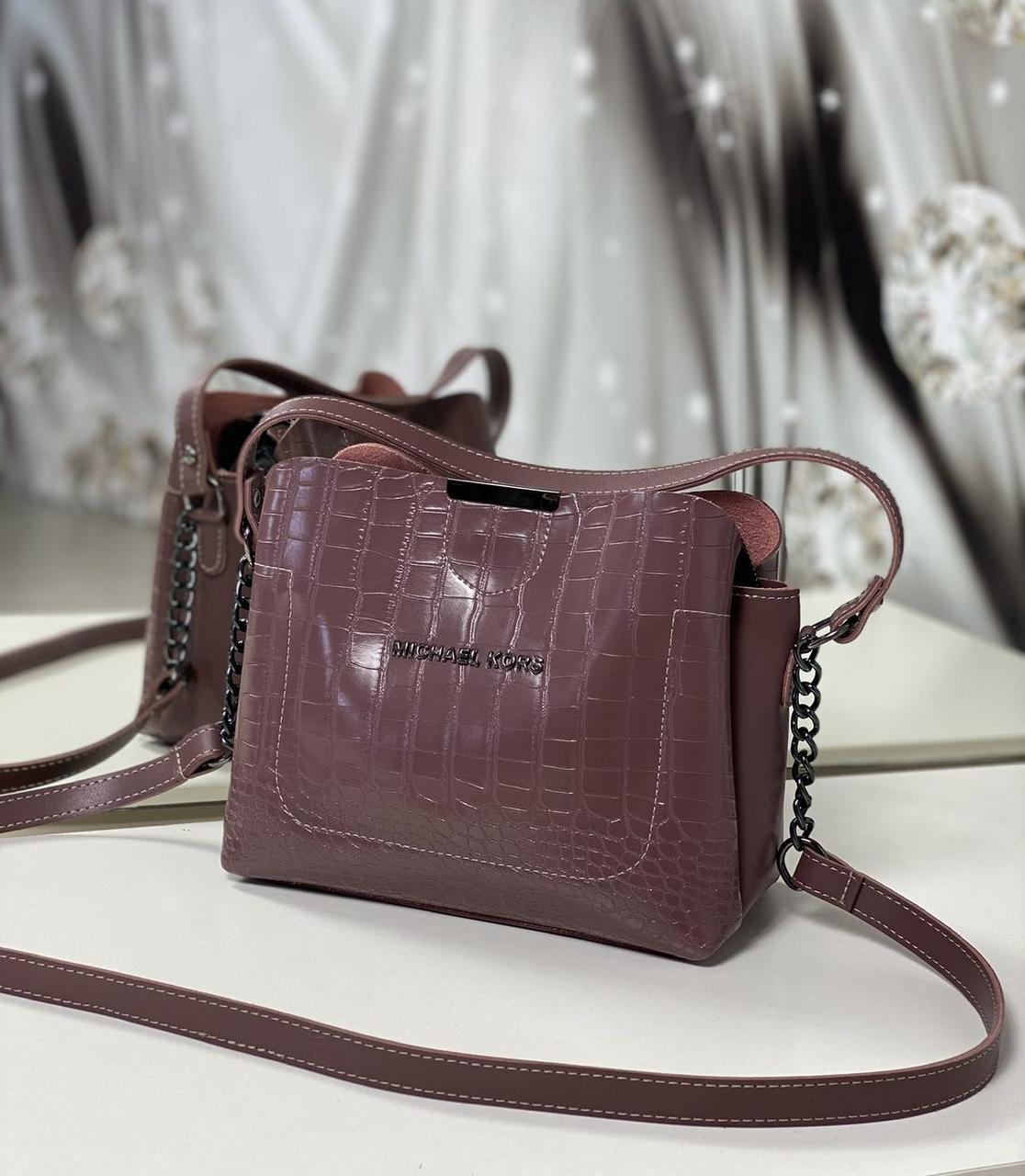 Женская сумка через плечо кроссбоди сумочка лиловая под рептилию экокожа