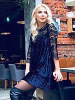 Платье женское стильное велюровое синий, бордо 42-46