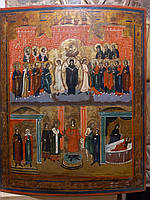 Старообрядческая икона Покров Пресвятой Богородицы 19 век