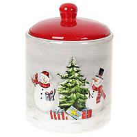 """Банка новогодняя для хранения """"Снеговик"""", посуда для Рождества"""