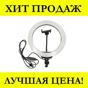 Кольцевая LED лампа LC666 (1 крепл.тел.) (метал.шарниры) USB (26см), фото 2