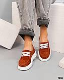 Рыжие замшевые слипоны на шнуровке женские, фото 2