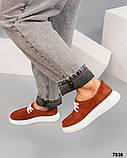 Рыжие замшевые слипоны на шнуровке женские, фото 5