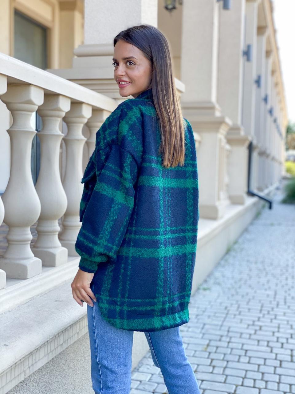 Пальто рубушка 2020 Синий/Зеленый