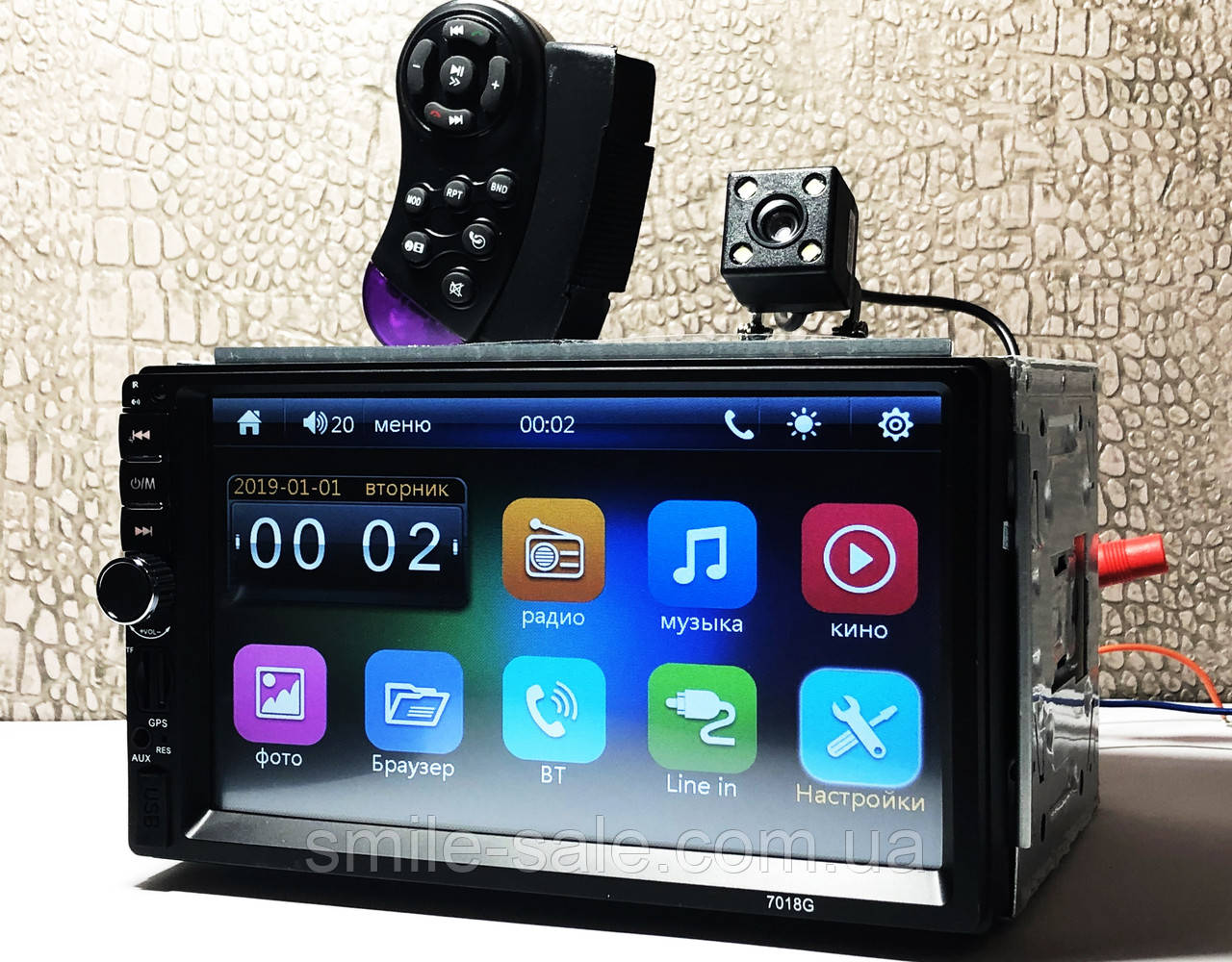 "Автомагнитола 2Din Pioneer 7018G 7"" Экран, GPS, Bluetooth. Пульт на руль+ КАМЕРА!"