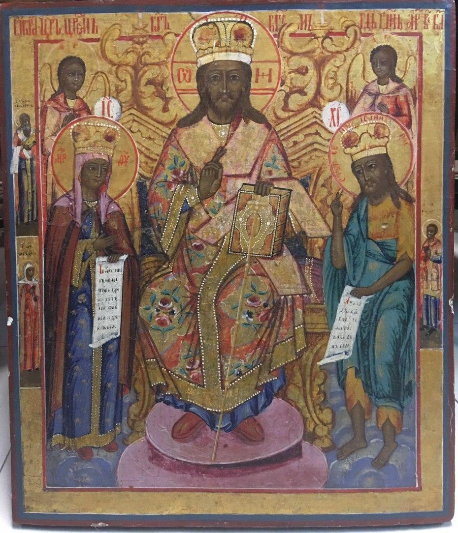 Ікона Деісус Господь з Богородицею та Іоанном 19 століття