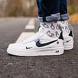 🔥 Мужские кроссовки спортивные повседневные Nike Air Force 1 White Lv8 кожаные найк эир форс белые, фото 2