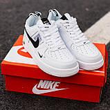 🔥 Мужские кроссовки спортивные повседневные Nike Air Force 1 White Lv8 кожаные найк эир форс белые, фото 4