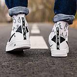 🔥 Мужские кроссовки спортивные повседневные Nike Air Force 1 White Lv8 кожаные найк эир форс белые, фото 6