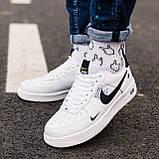 🔥 Мужские кроссовки спортивные повседневные Nike Air Force 1 White Lv8 кожаные найк эир форс белые, фото 3