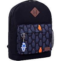 Рюкзак городской молодежный Bagland для девушки и парня черный коты с оранжевыми глазами 17 л.