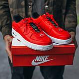 🔥 Мужские кроссовки спортивные повседневные Nike Air Force 1 Just Do It Red найк эир форс красные, фото 5