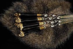 """Авторский набор шампуров """"Шаман"""" с вилкой для снятия люля-кебаб, в кожаном колчане, фото 2"""