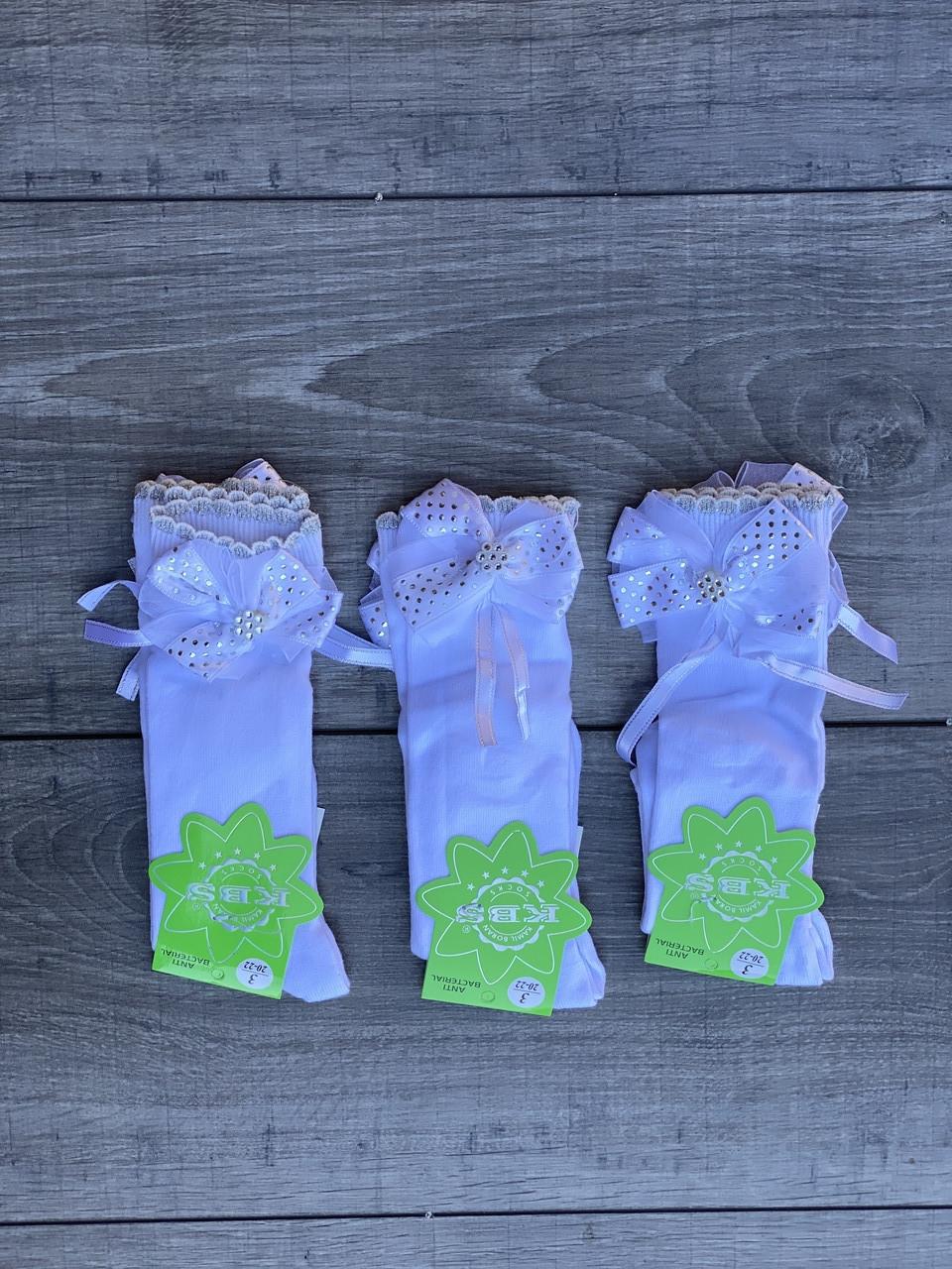Дитячі підколінки шкарпетки бавовна KBS для дівчаток з бантиками 3 роки 12 шт в уп білі