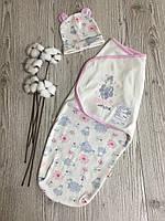 Пеленка-кокон для новорожденной девочки на липучках с шапочкой