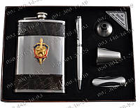 Подарочный набор СССР 5В1 AL214 Фляга+стопка+лейка+шариковая ручка+складной нож Набор с флягой