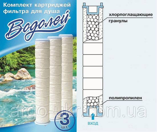 """Комплект картриджей для Фильтра для душа """"Водолей"""" Арго 3 штуки (очистка воды от хлора, примесей, магнит)"""