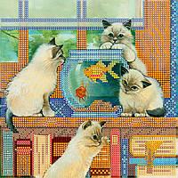 """Схема для вышивания бисером на художественном холсте """"Золотая рыбка"""""""