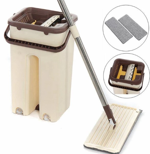 Комплект швабра и ведро с автоматическим отжимом Spin Mop NEW, швабра лентяйка
