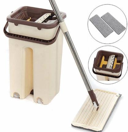 Комплект швабра и ведро с автоматическим отжимом Spin Mop NEW, швабра лентяйка, фото 2