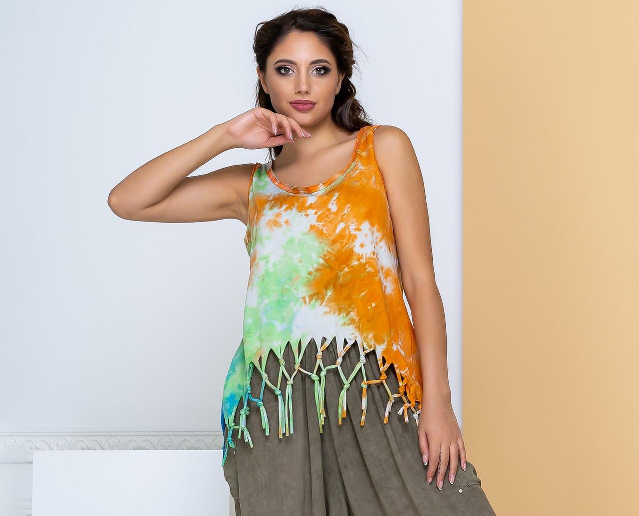 Женская футболка с вырезами,рисунком крылья на спине.,бахрома.