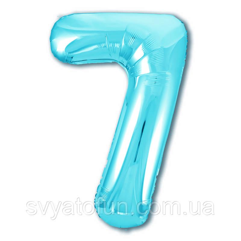 Фольгированный шар-цифра 7 Slim холодный голубой 102см Agura