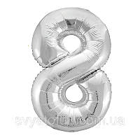 Фольгований куля-цифра 8 Slim срібло 102см Agura