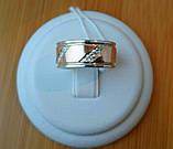 Обручальное кольцо серебряное с золотыми пластинами унисекс 8мм, фото 3