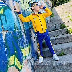 Спортивный детский костюм для мальчика синий с желтым Адидас Adidas