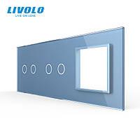 Сенсорная панель выключателя Livolo 4 канала и розетку (2-2-0) голубой стекло (VL-C7-C2/C2/SR-19), фото 1