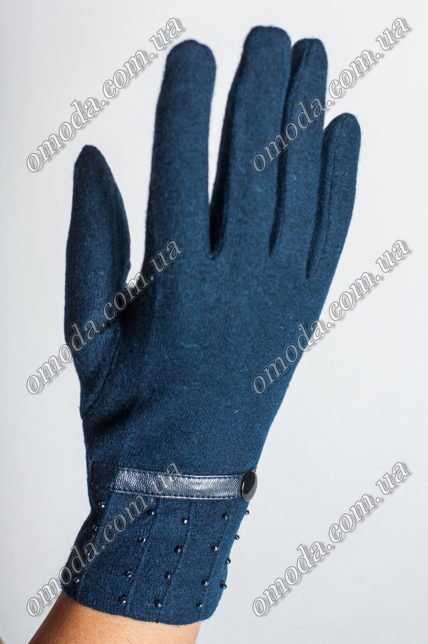 Кашемировые перчатки синие бисер и кожинная вставка
