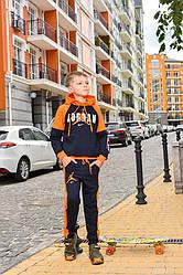 Спортивный детский костюм для мальчика черный с оранжевым Nike Найк