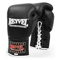 REYVEL Перчатки боксерские ,ПРО, Кожа  8 унций  Черные