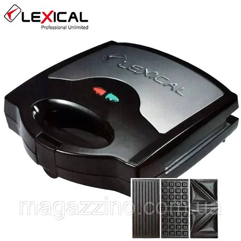 Электрический гриль, бутербродница, сэндвичница, вафельница Lexical LSM-2504, 3в1, 800Вт.