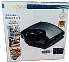 Электрический гриль, бутербродница, сэндвичница, вафельница Lexical LSM-2504, 3в1, 800Вт., фото 6