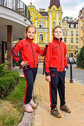 Спортивный костюм детский для мальчика и девочки красный с черным Адидас Adidas