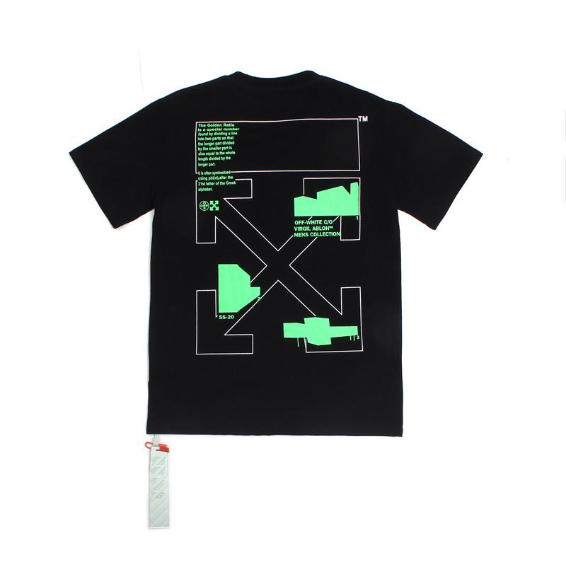 Футболка Off white чёрная (с зелёным принтом офф вайт Golden Ratio мужская женская)