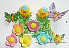 """Кондитерское украшение """"Цыплята, Мотыльки и цветы"""""""