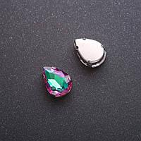 Пришивной кристалл в цапе Капля 10х14мм зелено малиновый