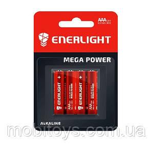 Батарейка ENERLIGHT MEGA POWER (AAA мини-ПАЛЬЧИК) Алкалайновые FOL (картон) 4 шт. / Ок 40шт. / Уп.