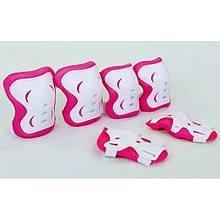 Защита детская наколенники, налокотники, перчатки (розовый-белый)