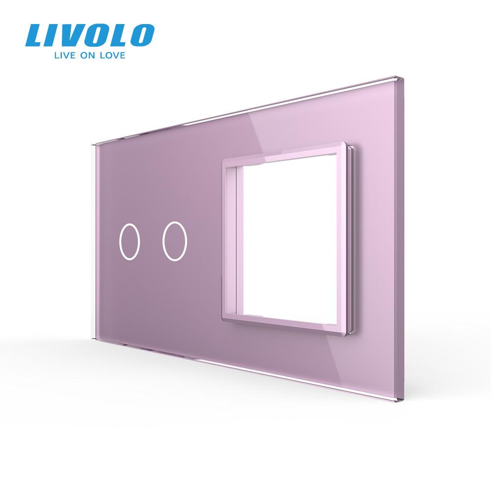 Сенсорная панель выключателя Livolo 2 канала и розетки (2-0) розовый стекло (VL-C7-C2/SR-17)