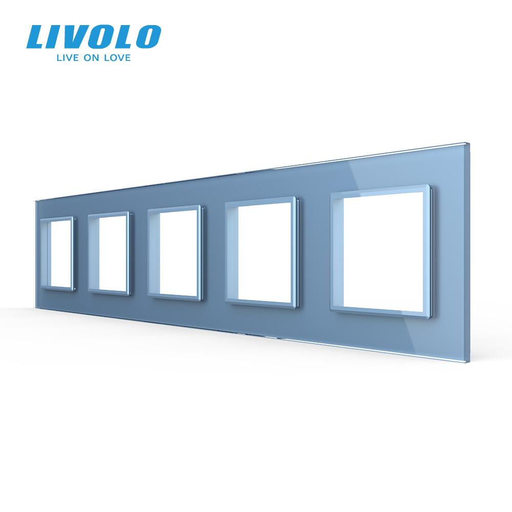 Рамка розетки Livolo 5 постов голубой стекло (VL-C7-SR/SR/SR/SR/SR-19)